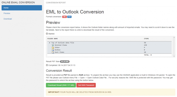IncrediMail to PST conversion report example